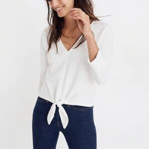 Madewell Textured Tie Front Top White XS